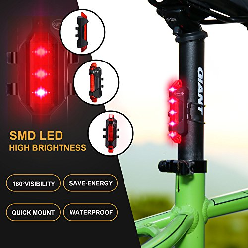 Outair USB Rechargeable Bicycle Light Front And Tail Set 5 LEDs 4 Modes Head Back Bike Flashing Safety Warning Lamp (Red&White) by Outair (Image #1)
