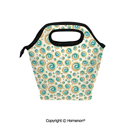 (Insulated Neoprene Soft Lunch Bag Tote Handbag lunchbox,3d prited with Trippy Paint Brush Rotary Spiral Circle Patterns Hazy Tiles,For School work Office Kids Lunch Box & Food Container)