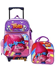 Trolls Poppy Large Removable Wheels Rolling Backpack Lunch Bag Set 2pc Set