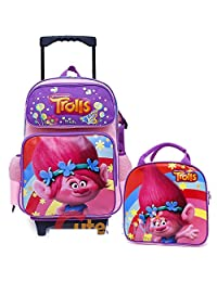 Trolls Poppy Large Removable Wheels Rolling Backpack Lunch Bag Set 2pc Set