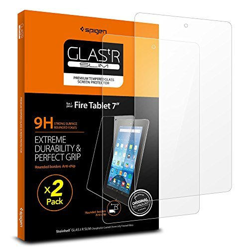 (Spigen Screen Protector for Fire 7 Tablet / 2 Pack/Tempered Glass / 5th Generation 2015 Release)