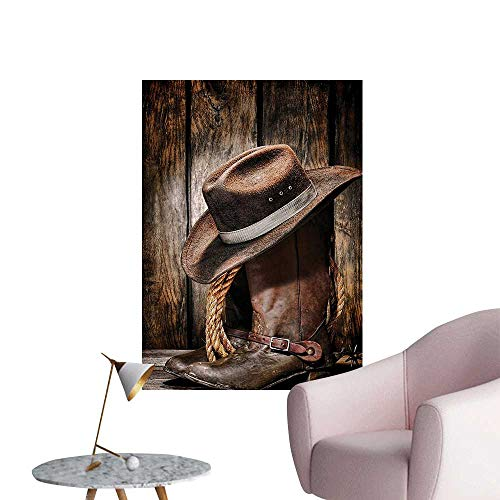Black Boots Bern - Wall Decals Rodeo Dirty and Old Black Felt Hat Worn and Leather Working Rancher Boots Environmental Protection Vinyl,20