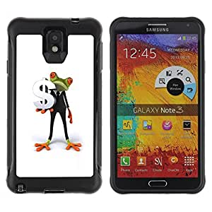 LASTONE PHONE CASE / Suave Silicona Caso Carcasa de Caucho Funda para Samsung Note 3 / Business Man Frog White Minimalist Dollar