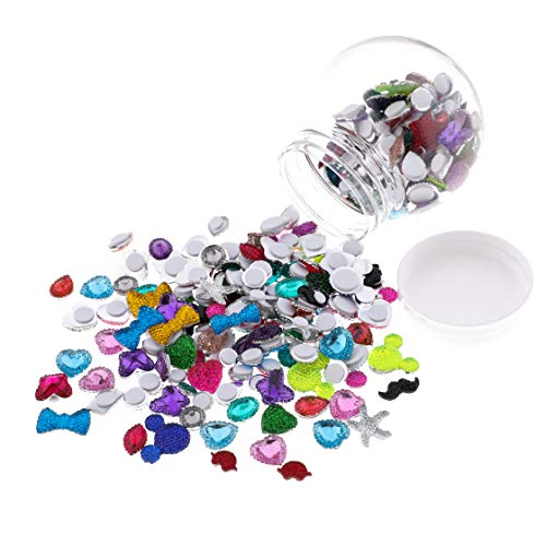 Self Adhesive Craft Jewels Assorted Rhinestone Stickers Crystal Gems Bling Jewel Stickers for Scrapbook Decorations, Greeting Cards, Photo Wall, Notebooks, Vases,Birthday Hat etc. Pack of 249