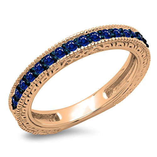 0.33 Carat (ctw) 10K Rose Gold Blue Sapphire Ladies Millgrain Wedding Stackable Band 1/3 CT (Size 7)