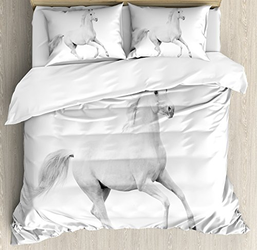 Set Equestrian (Ambesonne Black and White Decorations Duvet Cover Set Queen Size, White Stallion Running Horse Gallop Motion Speed Equestrian, Decorative 3 Piece Bedding Set with 2 Pillow Shams, White Black)
