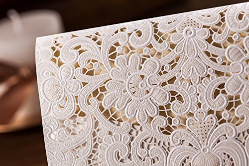 Doris Home 100pcs Ivory Horizontal Laser Cut Wedding Invitation with Hollow Flora Favors (pack of 100pcs) by Doris Home (Image #3)