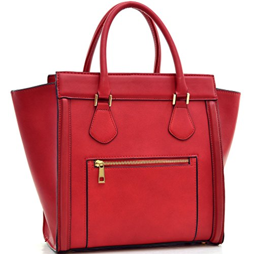 Dasein Women's Satchel Handbags and Top Handle Purses Shoulder Bags Vegan Leather Tote for Ladies Red (Handbag Republic)