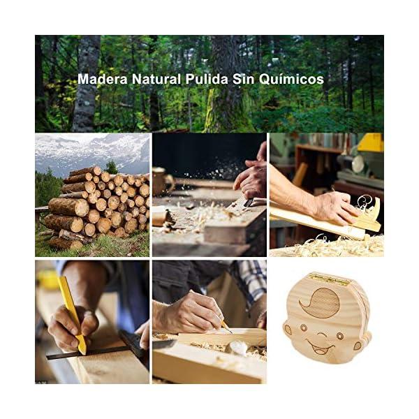 DEAROPE Caja de Dientes, Caja para Dientes en Español de Leche, Caja de Madera para Guardar Dientes (Niño) 3