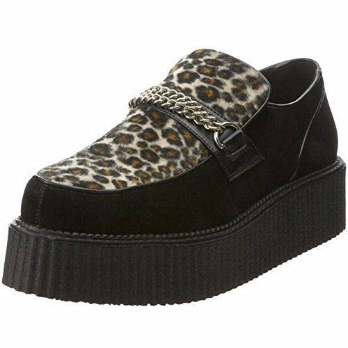 Demonia V-CREEPER-509S Blk Suede-Cheetah Fur Size UK 5 EU 38