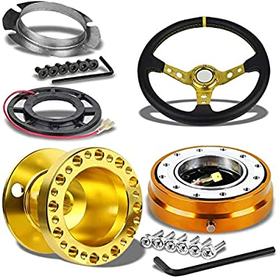 "350MM 3"" Gold Tri-Spoke/Gold Stripe Steering Wheel+Gold 6-Hole Hub Adapter+Gold Quick Release For 240SX/Sentra: Automotive"