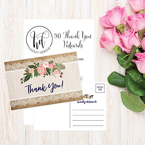 50 4x6 Rustic Flower Thank You Postcards Bulk, Cute Kraft Floral Watercolor Note Card Stationery For Wedding, Bridesmaid, Bridal or Baby Shower, Teachers, Appreciation, Religious, Business, Holiday Photo #4