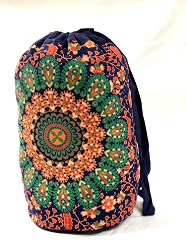 Indian Mandala Bag, Ethnic Shoulder Bag, Boho Unisex Bag, Cotton Gym Bag, Hippie Casual Bag, Multipurpose Backpack (Pattern 9) ()