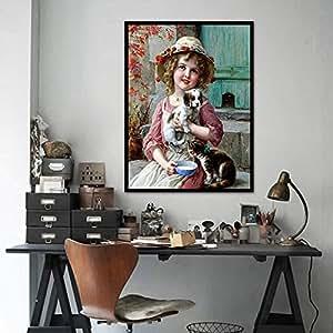 5d diy Pretty Girl Pintura por número de bordado de diseño de diamantes de gato Needlework Animal Diamond diamante de punto de cruz, diseño de pintura Pintura 100% Full taladro Decor hecho a mano Craft