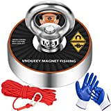 Powerful Magnets Fishing with 65Ft(20M) Nylon Rope, Carabiner and Hand Gloves, 400Lbs(181Kg) Pulling Force Strong Neodymium Magnet for Salvage, Fishing and Retrieving