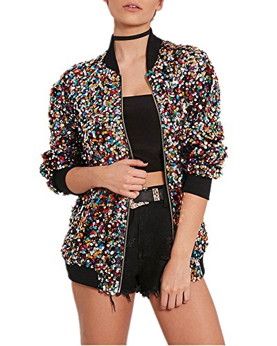 LY-VV Plus Size Women Bomber Jacket Sparkly Sequin Fitted Rib Zipper Front Blazer (Q Colorful, XL) - Bomber Rib