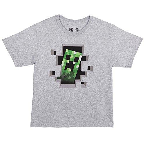 Minecraft Creeper Inside Youth T-shirt, Oxford Grey, Medium