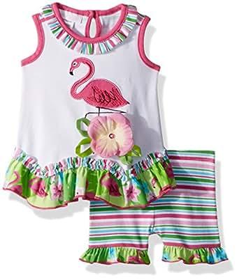 Bonnie Jean Baby-Girls Appliqued Dress and Legging Set Patterned Short Sleeve Playwear Dress - Green - 0-3 Months