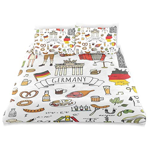 YCHY Decor Duvet Cover Set, Hand Drawn Doodle of German Culture Icons Football Jersey Food Science Musi A Decorative 3 Pcs Bedding Set with Pillowcases, Twin/Twin XL