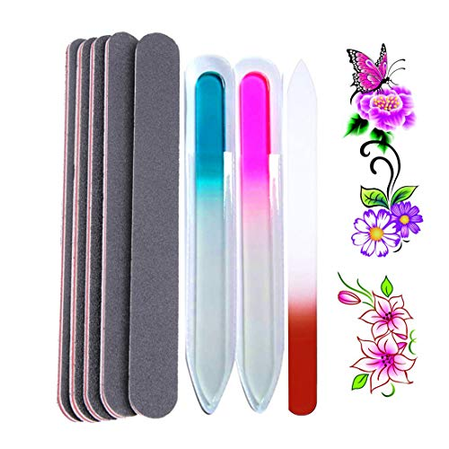 - Nail File Manicure Pedicure Set - 5 black Nail Files Emery Boards 100 180 Grit - 3 Crystal Glass Fingernail File For Natural & Acrylic - 4 Nails Care Decor Art Stickers(Bi016A)