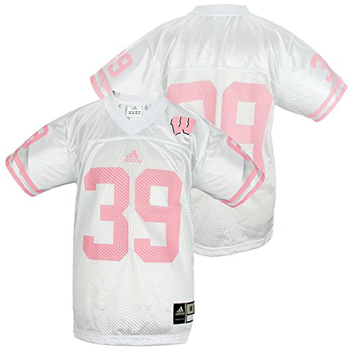 Adidas NCAA Youth Wisconsin Badgers # 39 Football Jersey, White and Pink (Large (14-16))