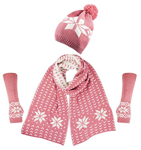 Glove Pink Womens (Bienvenu Women's Snowflake Hat Gloves and Scarf Winter Set,Pink)