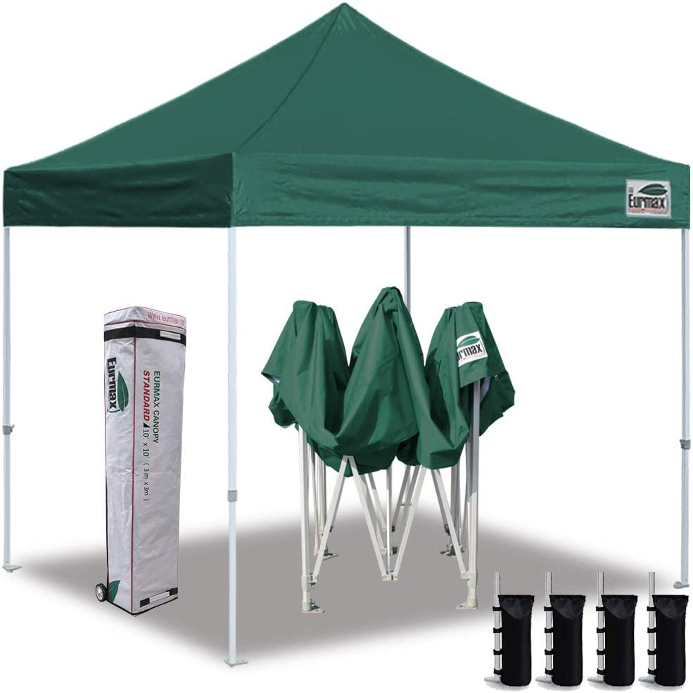 Eurmax 10 x10 Ez Pop Up Canopy Tent Commercial Instant Canopies with Heavy Duty Roller Bag,Bonus 4 Sand Weights Bags Forest Green