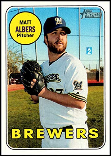 (2018 Topps Heritage High Number Baseball #601 Matt Albers Milwaukee Brewers Official MLB Trading Card)