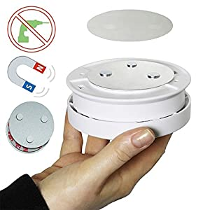 Meiprosafe Magnetic Smoke Detector Installation Tool,Quick and Easy Fastening Ceiling Mounted Kit for Smoke Alarm,No Need Drill No Danger 10 Seconds Install Smoke Sensors(1pc)