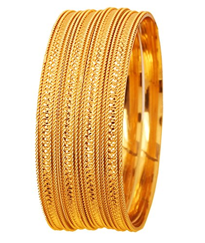 Touchstone New Golden Bangle Collection Indian Bollywood Desire Brass Base Nicely Created Depiction of Indian Fine Jewelry Mark Designer Jewelry Bangle Bracelets Set of 4 in Gold Tone for Women.
