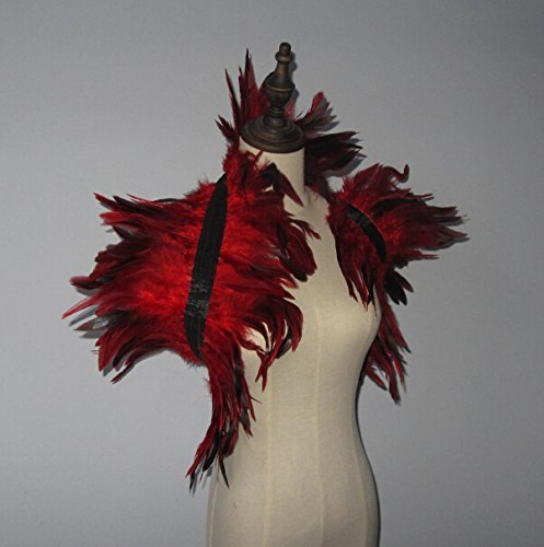 2 Layer Red Hnadmade Feather Cape SHAWL Shrug Shoulders Halloween costume ,vintage capelet for Adult