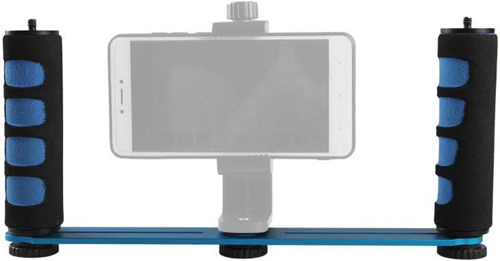 Godyluck New Action Camera Screw Mounts Handgrip for Phone Aluminium Alloy Dual Handheld Grip Selfie Stick 1//4 Inch DSLR ILDC Blue