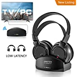 Wireless Headphones for TV With Charging Dock,over the Ear Stereo Headset with RF Transmitter,Adjustable,Lightweight,Cordless Design wtih Transmitter For Gaming PC,Iphone Ipad 25hr Battery