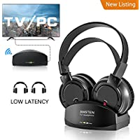 Wireless Headphones for TV With Charging Dock,over the Ear Stereo Headset with RF Transmitter,Adjustable,Lightweight,Cordless Design For Gaming PC,Iphone Ipad 25hr Battery【Fathers Day Gift】