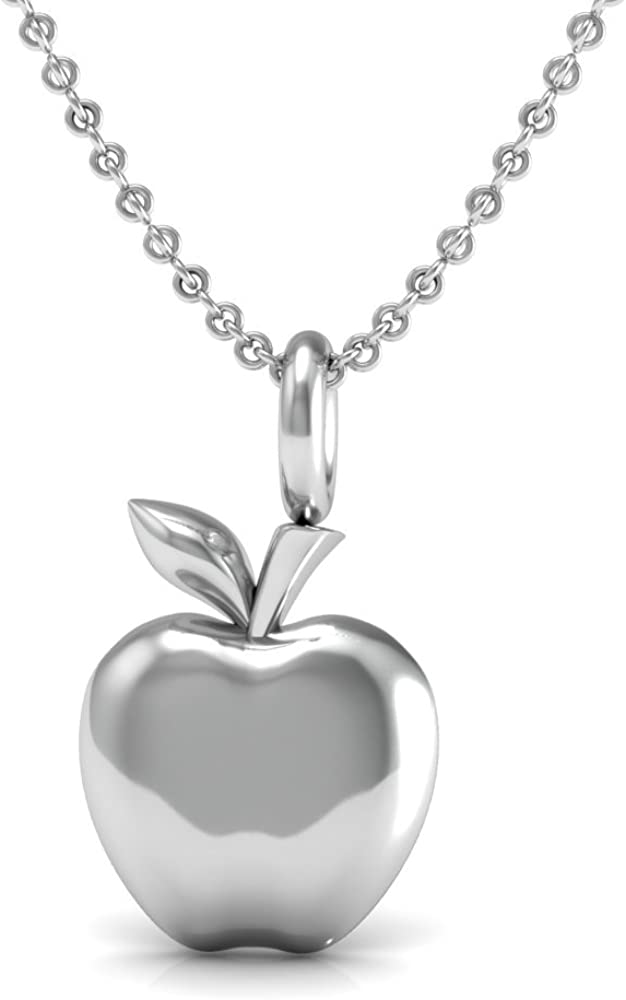 The Best Teacher Gift Pendant Necklace, 925 Sterling Silver 18 inch Necklace with a Delicate Apple Charm Pendant for Your Favorite Teacher.