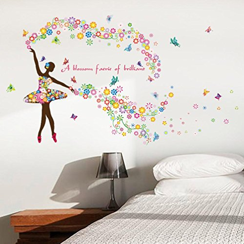 Staron New Butterfly Flower Fairy Wall Stickers, Home Decors Removable Mural Wallpaper Girls Room Bedroom Wall Decals