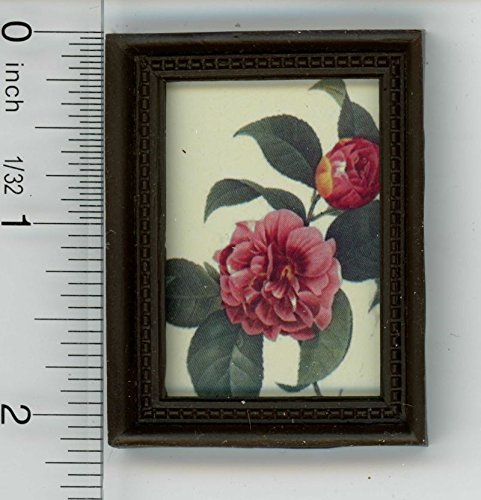 (Dollhouse Miniature Dark Framed Picture of a Rose)