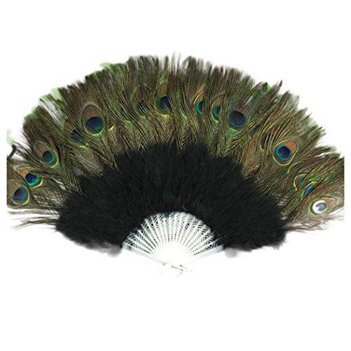 peacock feather hand fan - 5