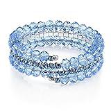 1928 Jewelry Lux-Cut Light Blue Beaded Coil Bracelet