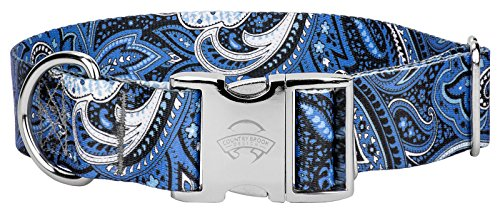 Country Brook Design - 1 1/2 Inch Premium Blue Paisley Dog Collar - Medium