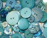 """Fancy & Decorative {Assorted Sizes w/ 1, 2, 4 Holes} 100 Pack of """"Flat & Shank"""" Sewing & Craft Buttons Made of Acrylic Resin w/ Fun Shiny Simple New Baby Boy Creative Gift Design {Blue}"""