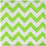 Disposable Chevron Print Beverage Napkins Tableware, 16 Pieces, Made from Paper, Kiwi Green, by Amscan