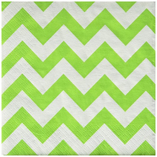 Disposable Chevron Print Beverage Napkins Tableware, 16 Pieces, Made from Paper, Kiwi Green, by Amscan by Amscan