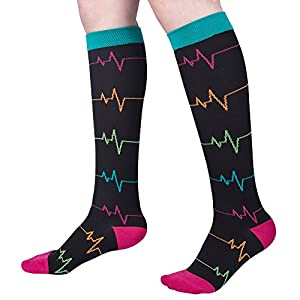 Compression Socks for Nurse (Women), Graduated 20-30 mmHg, Long Sleeve Knee High, for Nurse, Doctor, and Pregnancy, Reduce Fatigue, Swelling, Shin Splints, Faster Recovery(2 Pk)