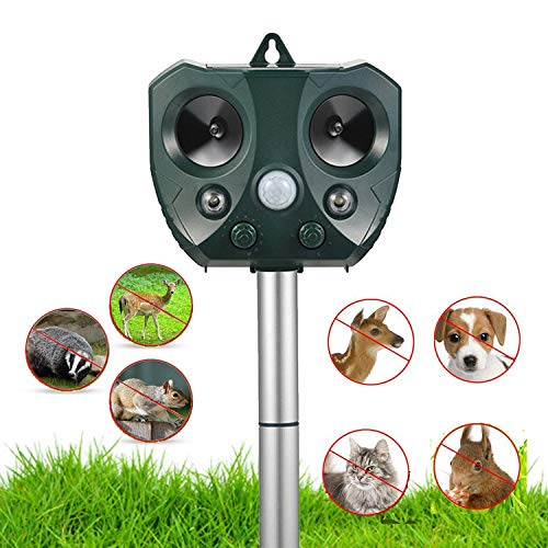 NoBug Animal Repellent Ultrasonic Outdoor, Animal Repeller, Solar Animal Repeller with Motion Sensor, Waterproof Outdoor Repels Deer Raccoon Rabbit Squirrel Cat Dog Bird