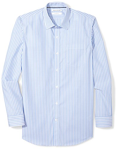 Amazon Essentials Men's Slim-Fit Wrinkle-Resistant Long-Sleeve Dress Shirt, Blue/White Stripe, 16.5