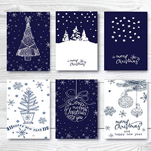 Bulk Merry Christmas Greeting Cards Assorted Pack 24, Winter Happy Holiday Cards Set, 6 of each Vintage Design, Xmas Money Gift Cards Blank Inside with Envelopes (Happy New Year And Merry Christmas Cards)