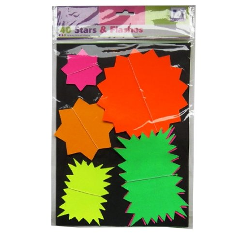 Neon Assorted Stars, Flashes Pricing Cards - Pack of 40 -