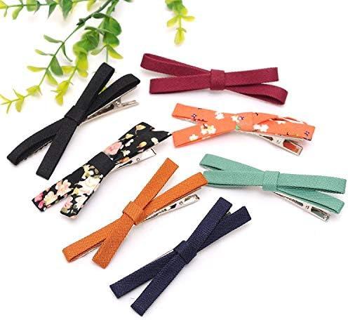 ヘアアクセサリー クロスヘアピン装身具弓の毛の宝石の布 ヘアクリップ (Color : Navy)