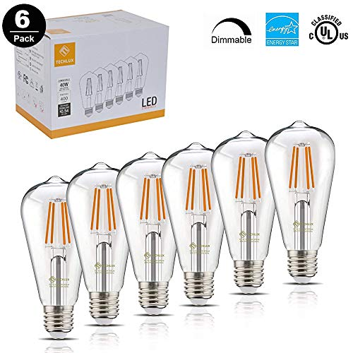 - TECHLUX 40W LED Filament Bulbs Edison Vintage Dimmable Lighting Energy Efficient Reading Lamp for Pendant Wall Light Fixtures Office Home Bedroom Bathroom,E26 Base,Warm White 2700K, Pack of 6